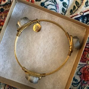 Gold Bangle with Gem Stones